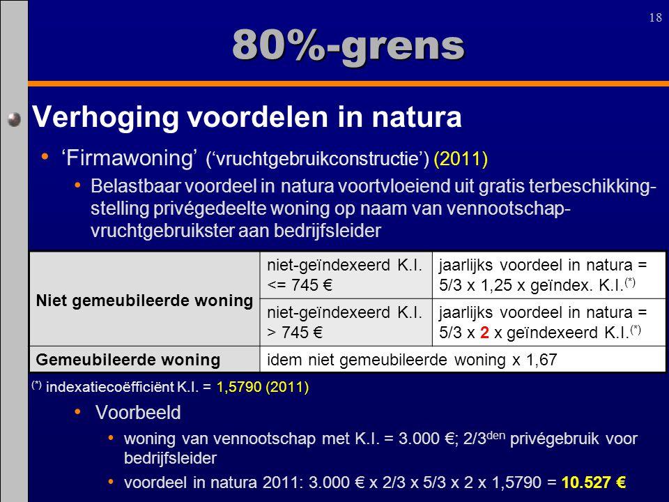 18 80%-grens Verhoging voordelen in natura 'Firmawoning' ('vruchtgebruikconstructie') (2011) Belastbaar voordeel in natura voortvloeiend uit gratis te