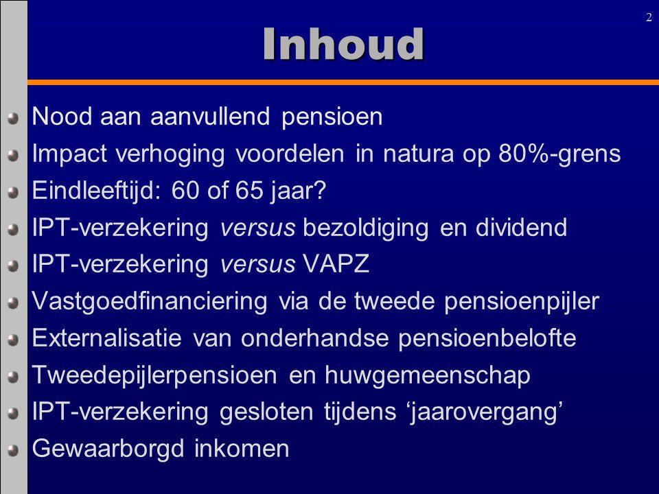 22Inhoud Nood aan aanvullend pensioen Impact verhoging voordelen in natura op 80%-grens Eindleeftijd: 60 of 65 jaar? IPT-verzekering versus bezoldigin
