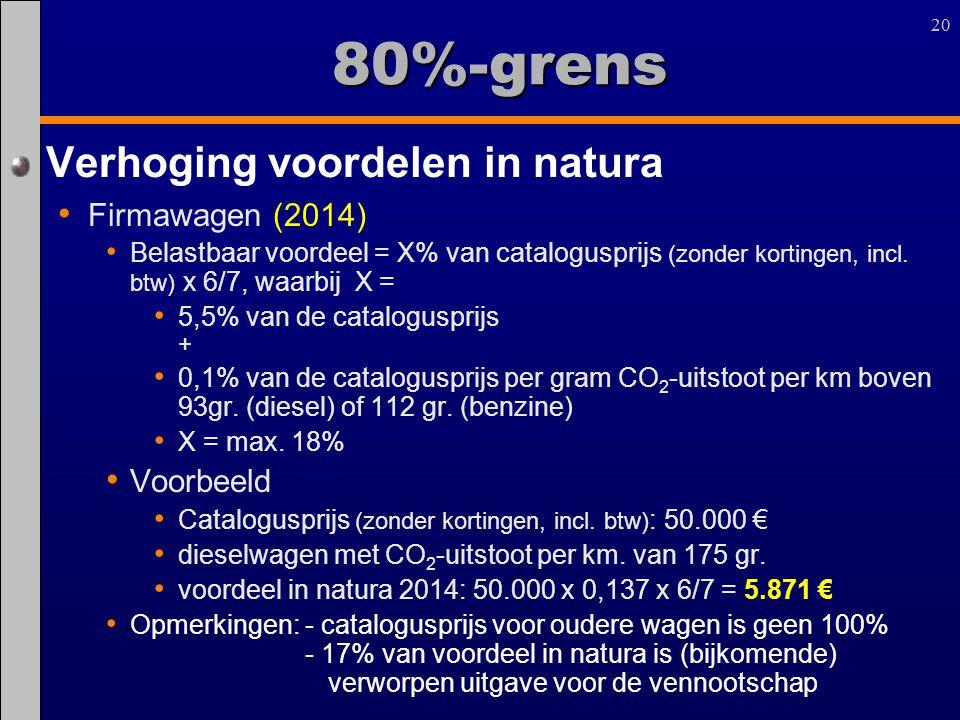 20 80%-grens Verhoging voordelen in natura Firmawagen (2014) Belastbaar voordeel = X% van catalogusprijs (zonder kortingen, incl. btw) x 6/7, waarbij
