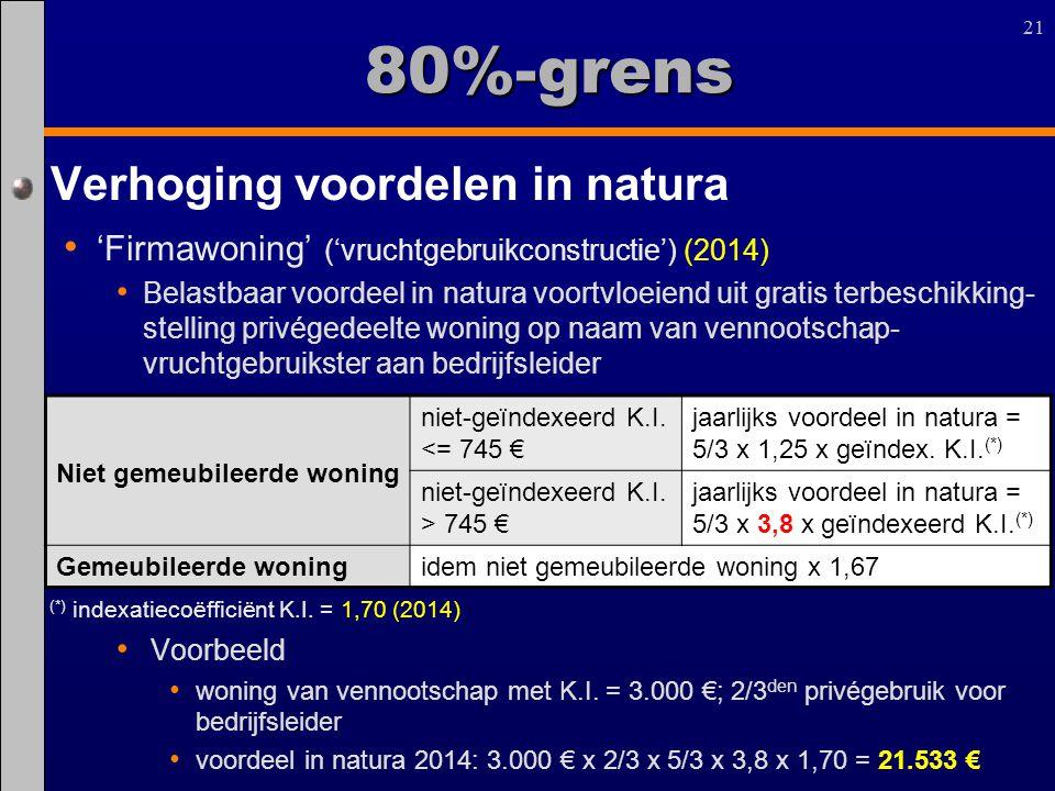 21 80%-grens Verhoging voordelen in natura 'Firmawoning' ('vruchtgebruikconstructie') (2014) Belastbaar voordeel in natura voortvloeiend uit gratis te