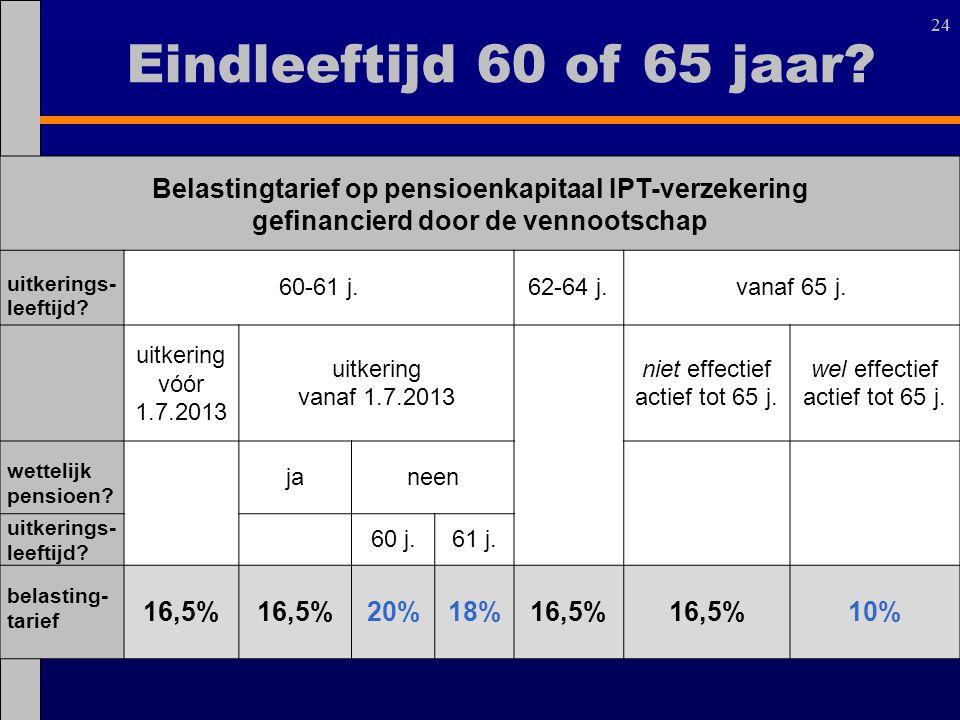 24 Belastingtarief op pensioenkapitaal IPT-verzekering gefinancierd door de vennootschap uitkerings- leeftijd? 60-61 j.62-64 j.vanaf 65 j. uitkering v