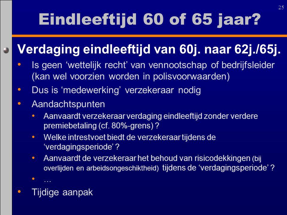 25 Verdaging eindleeftijd van 60j. naar 62j./65j. Is geen 'wettelijk recht' van vennootschap of bedrijfsleider (kan wel voorzien worden in polisvoorwa