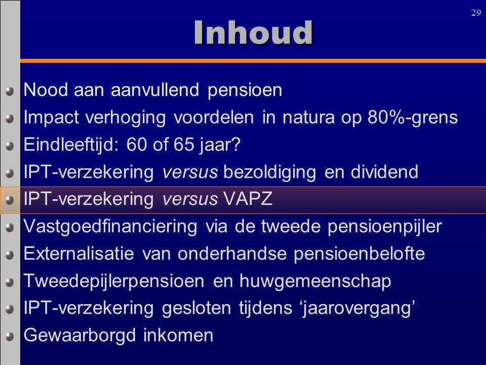 29 Inhoud Nood aan aanvullend pensioen Impact verhoging voordelen in natura op 80%-grens Eindleeftijd: 60 of 65 jaar? IPT-verzekering versus bezoldigi