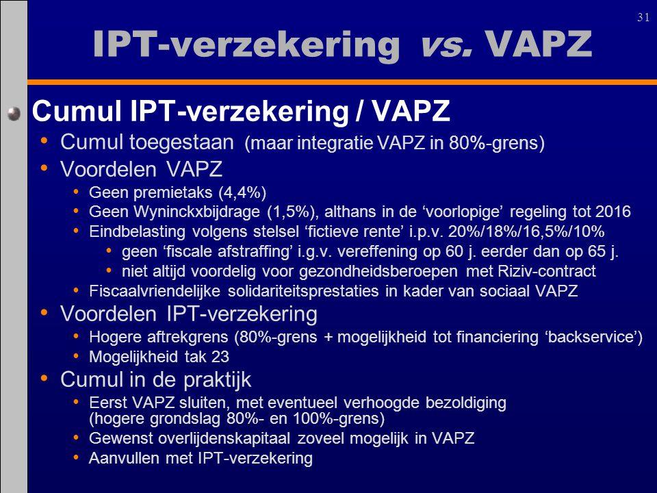 31 IPT-verzekering vs. VAPZ Cumul IPT-verzekering / VAPZ Cumul toegestaan (maar integratie VAPZ in 80%-grens) Voordelen VAPZ Geen premietaks (4,4%) Ge