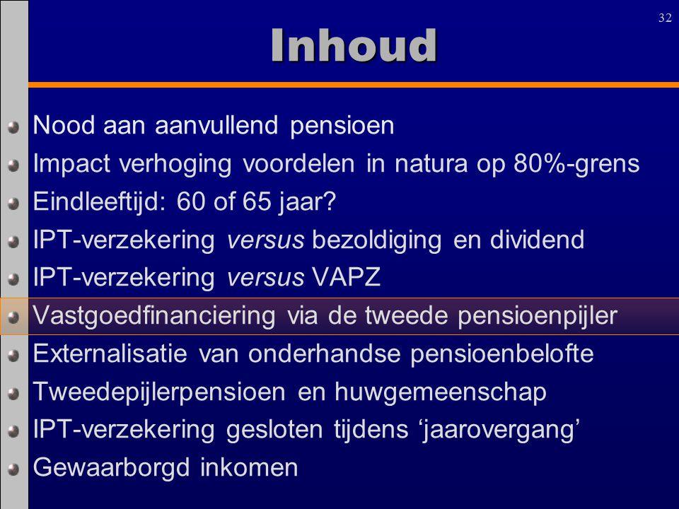 32 Inhoud Nood aan aanvullend pensioen Impact verhoging voordelen in natura op 80%-grens Eindleeftijd: 60 of 65 jaar? IPT-verzekering versus bezoldigi