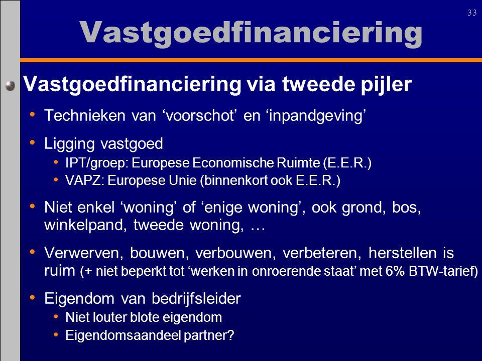 33 Vastgoedfinanciering via tweede pijler Technieken van 'voorschot' en 'inpandgeving' Ligging vastgoed IPT/groep: Europese Economische Ruimte (E.E.R.