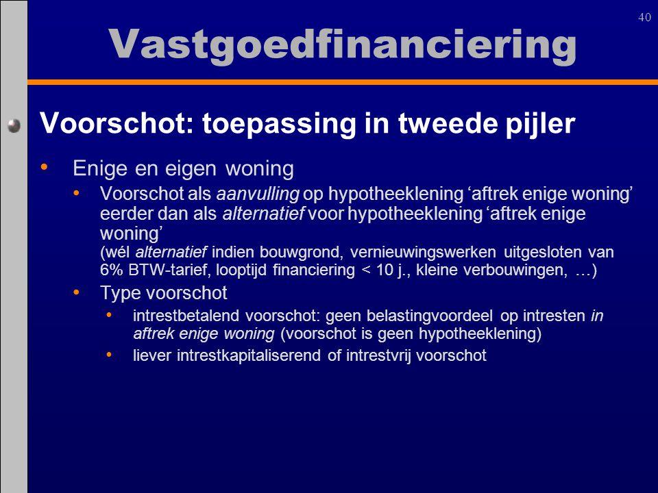 40 Voorschot: toepassing in tweede pijler Enige en eigen woning Voorschot als aanvulling op hypotheeklening 'aftrek enige woning' eerder dan als alter