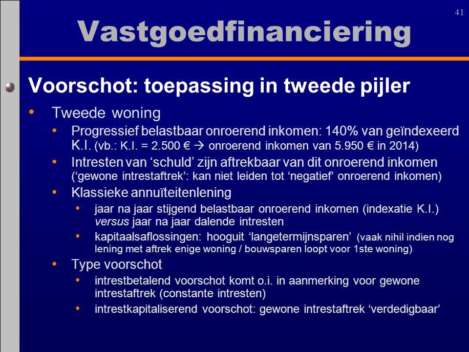 41 Voorschot: toepassing in tweede pijler Tweede woning Progressief belastbaar onroerend inkomen: 140% van geïndexeerd K.I. (vb.: K.I. = 2.500 €  onr