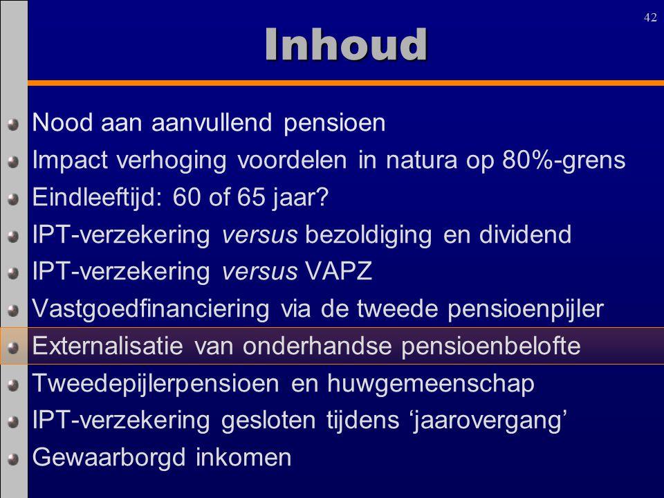 42 Inhoud Nood aan aanvullend pensioen Impact verhoging voordelen in natura op 80%-grens Eindleeftijd: 60 of 65 jaar? IPT-verzekering versus bezoldigi