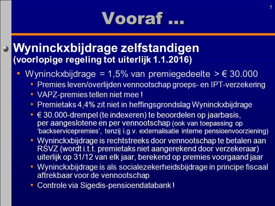 55 Wyninckxbijdrage zelfstandigen (voorlopige regeling tot uiterlijk 1.1.2016) Wyninckxbijdrage = 1,5% van premiegedeelte > € 30.000 Premies leven/ove