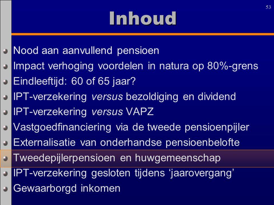 53 Inhoud Nood aan aanvullend pensioen Impact verhoging voordelen in natura op 80%-grens Eindleeftijd: 60 of 65 jaar? IPT-verzekering versus bezoldigi