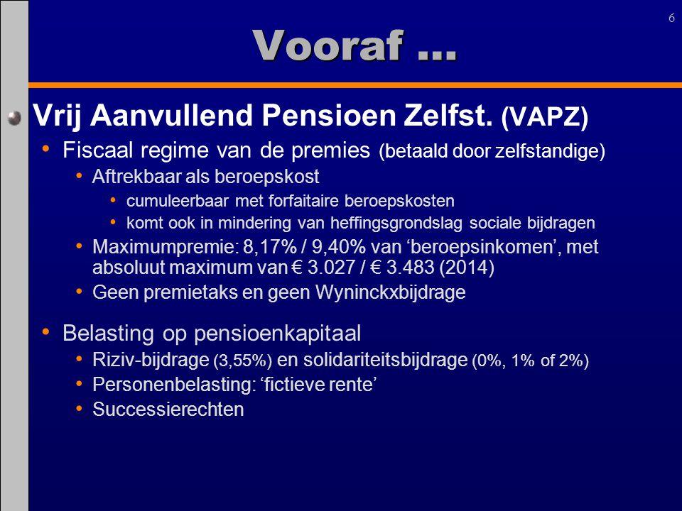 6 Vrij Aanvullend Pensioen Zelfst. (VAPZ) Fiscaal regime van de premies (betaald door zelfstandige) Aftrekbaar als beroepskost cumuleerbaar met forfai