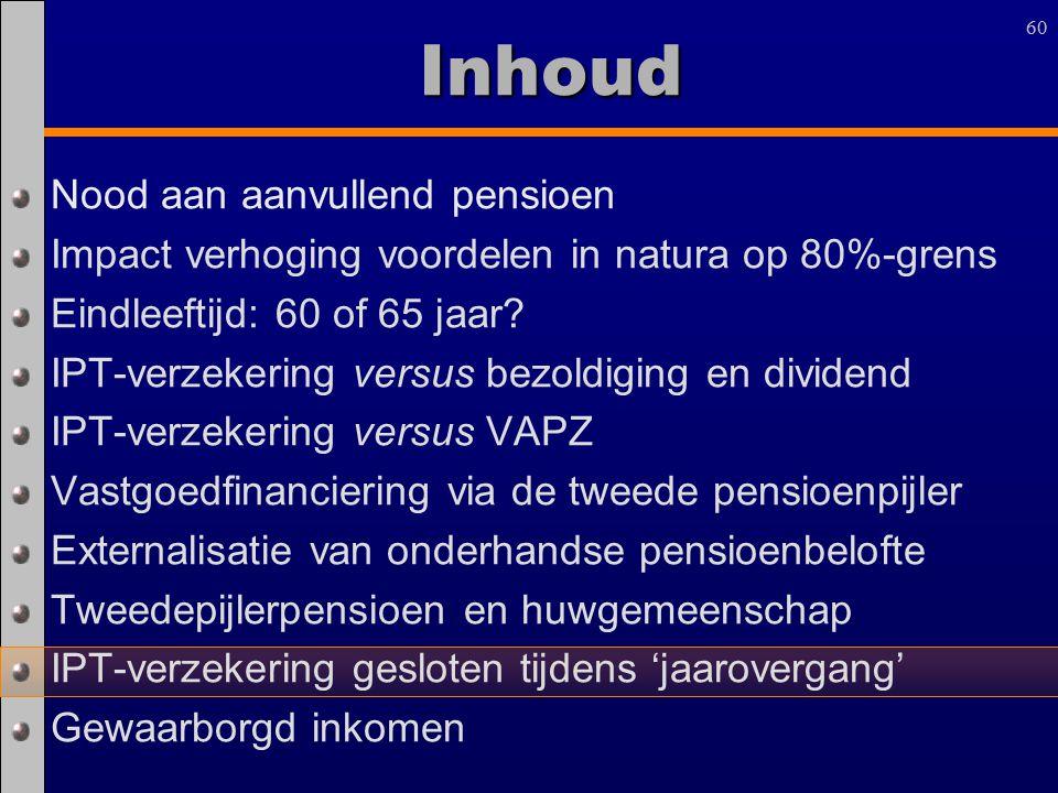 60 Inhoud Nood aan aanvullend pensioen Impact verhoging voordelen in natura op 80%-grens Eindleeftijd: 60 of 65 jaar? IPT-verzekering versus bezoldigi