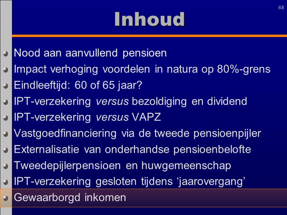 68 Inhoud Nood aan aanvullend pensioen Impact verhoging voordelen in natura op 80%-grens Eindleeftijd: 60 of 65 jaar? IPT-verzekering versus bezoldigi