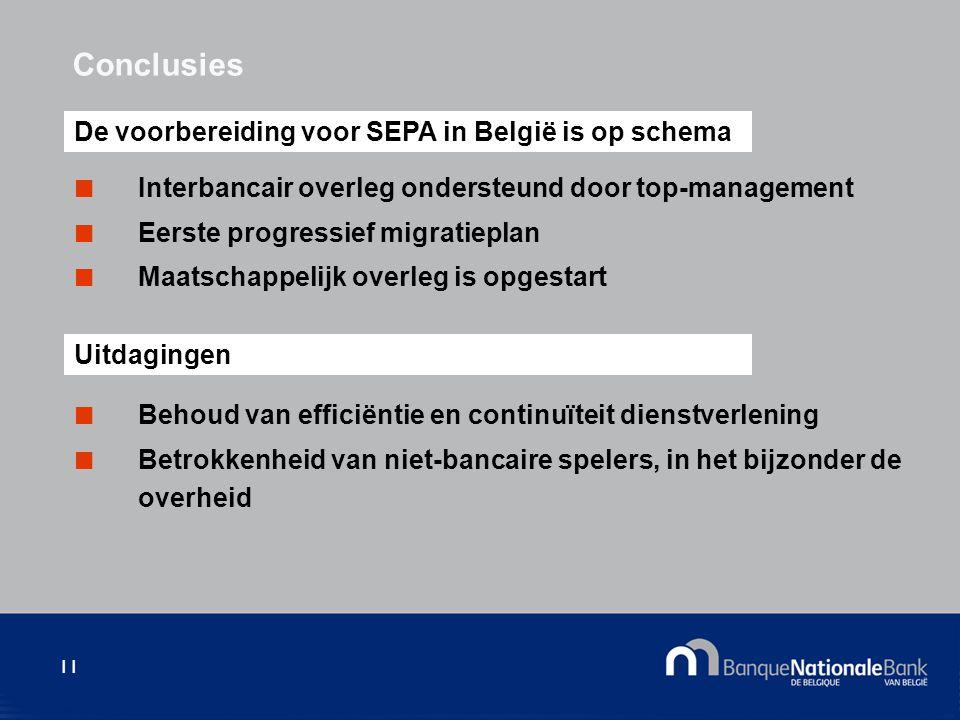 11 Interbancair overleg ondersteund door top-management Eerste progressief migratieplan Maatschappelijk overleg is opgestart Conclusies De voorbereiding voor SEPA in België is op schema Uitdagingen Behoud van efficiëntie en continuïteit dienstverlening Betrokkenheid van niet-bancaire spelers, in het bijzonder de overheid
