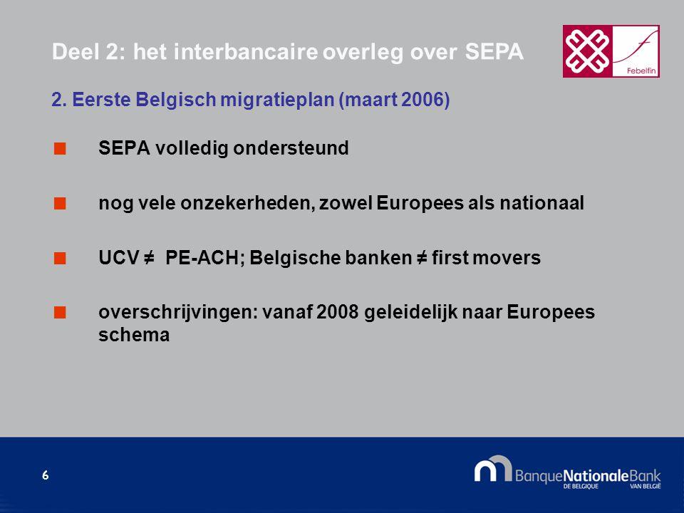 6 SEPA volledig ondersteund nog vele onzekerheden, zowel Europees als nationaal UCV ≠ PE-ACH; Belgische banken ≠ first movers overschrijvingen: vanaf 2008 geleidelijk naar Europees schema 2.