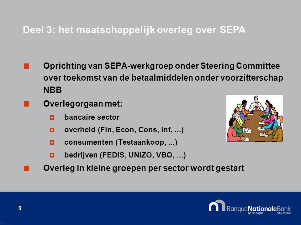 9 Oprichting van SEPA-werkgroep onder Steering Committee over toekomst van de betaalmiddelen onder voorzitterschap NBB Overlegorgaan met:  bancaire sector  overheid (Fin, Econ, Cons, Inf,...)  consumenten (Testaankoop,...)  bedrijven (FEDIS, UNIZO, VBO,...) Overleg in kleine groepen per sector wordt gestart Deel 3: het maatschappelijk overleg over SEPA