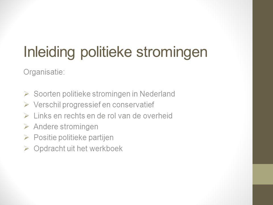 Inleiding politieke stromingen Organisatie:  Soorten politieke stromingen in Nederland  Verschil progressief en conservatief  Links en rechts en de