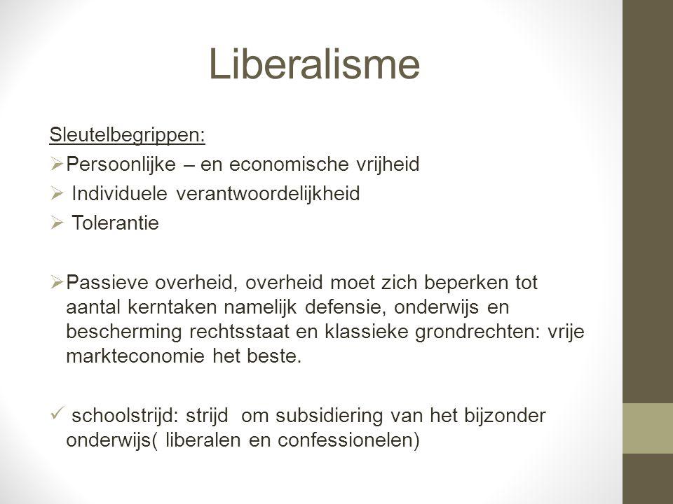 Liberalisme Sleutelbegrippen:  Persoonlijke – en economische vrijheid  Individuele verantwoordelijkheid  Tolerantie  Passieve overheid, overheid m