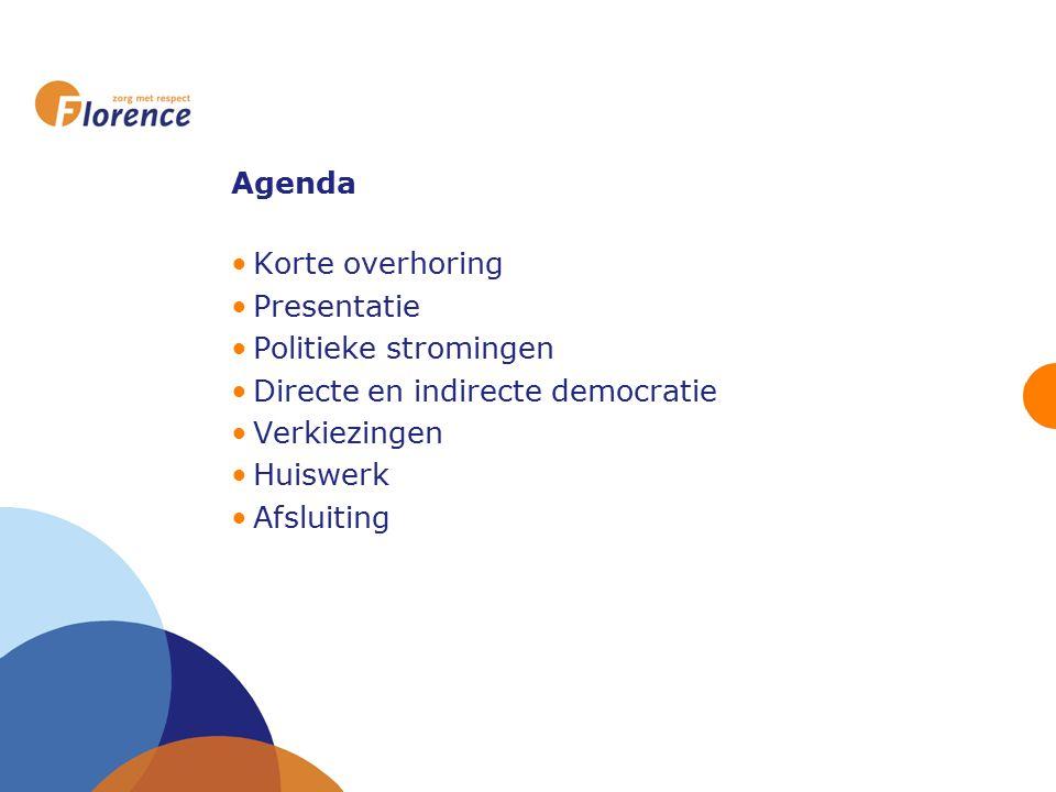 Agenda Korte overhoring Presentatie Politieke stromingen Directe en indirecte democratie Verkiezingen Huiswerk Afsluiting