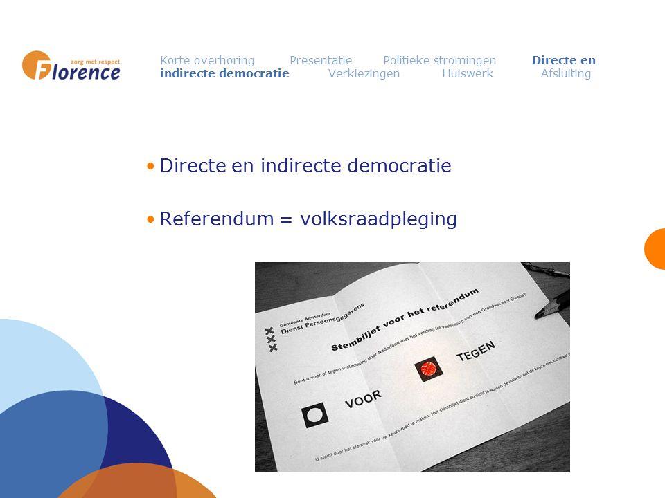 Korte overhoring Presentatie Politieke stromingen Directe en indirecte democratie Verkiezingen Huiswerk Afsluiting Directe en indirecte democratie Ref