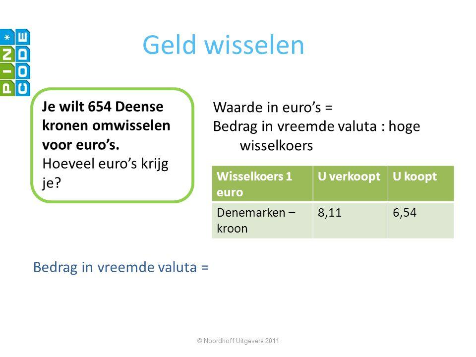 Geld wisselen Je wilt 654 Deense kronen omwisselen voor euro's. Hoeveel euro's krijg je? Waarde in euro's = Bedrag in vreemde valuta : hoge wisselkoer