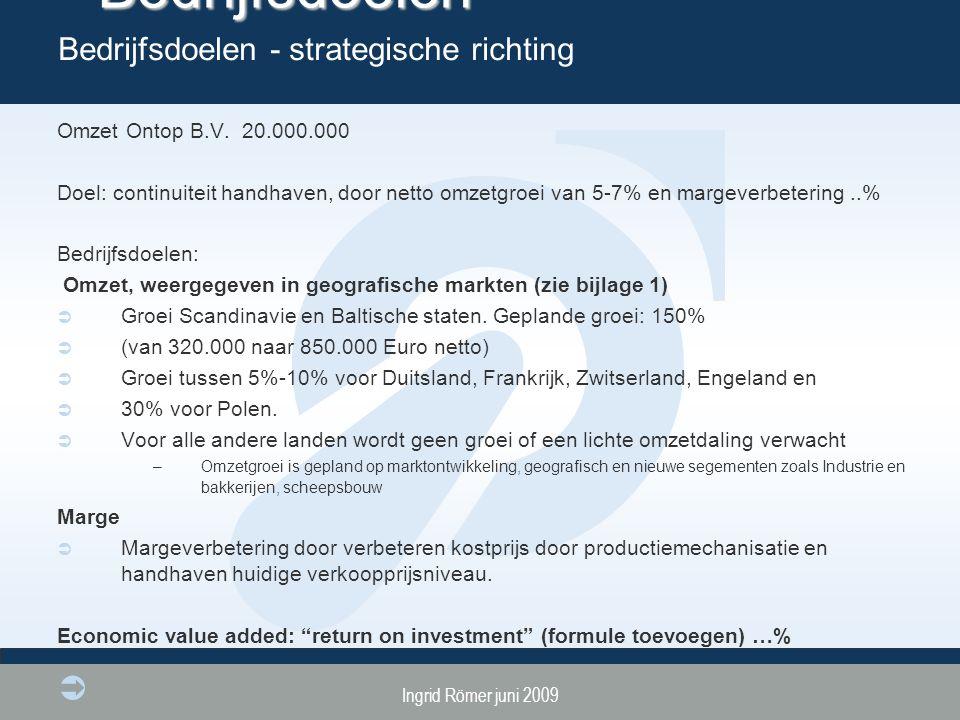 Ingrid Römer juni 2009 Bedrijfsdoelen Omzet Ontop B.V. 20.000.000 Doel: continuiteit handhaven, door netto omzetgroei van 5-7% en margeverbetering..%