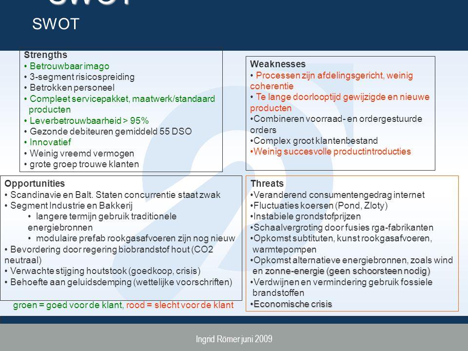 Ingrid Römer juni 2009 SWOT SWOT Strengths Betrouwbaar imago 3-segment risicospreiding Betrokken personeel Compleet servicepakket, maatwerk/standaard