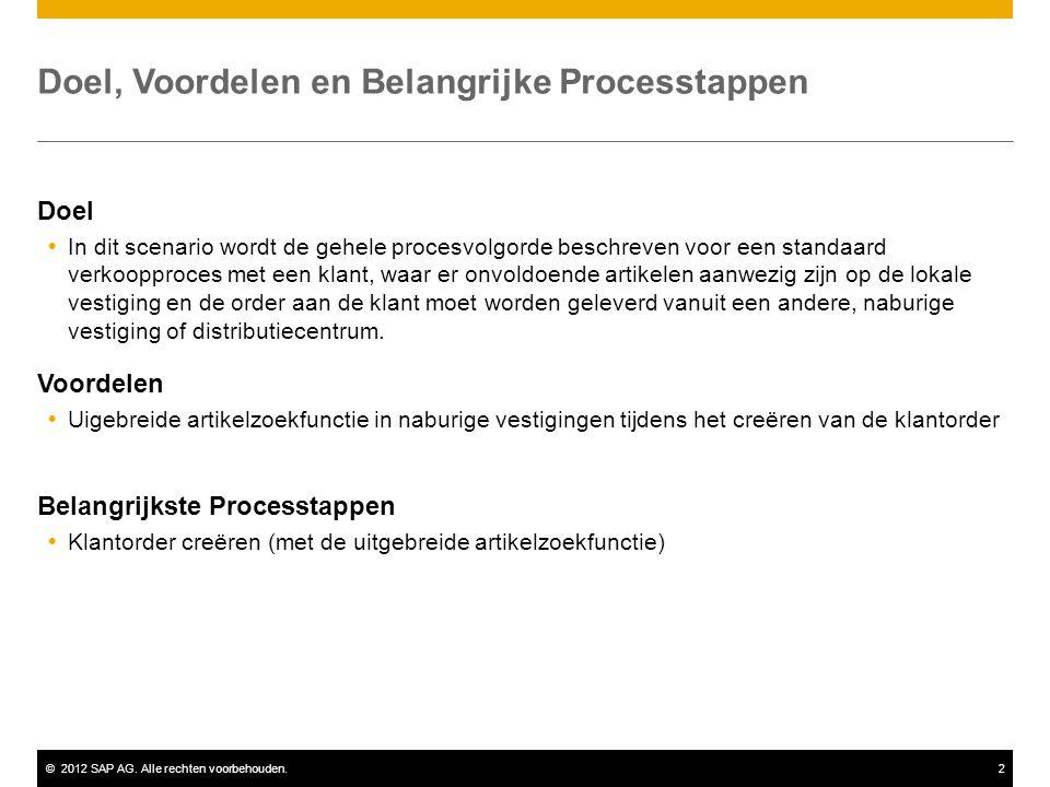 ©2012 SAP AG. Alle rechten voorbehouden.2 Doel, Voordelen en Belangrijke Processtappen Doel  In dit scenario wordt de gehele procesvolgorde beschreve