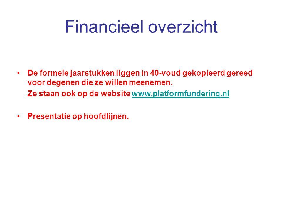Financieel overzicht De formele jaarstukken liggen in 40-voud gekopieerd gereed voor degenen die ze willen meenemen. Ze staan ook op de website www.pl
