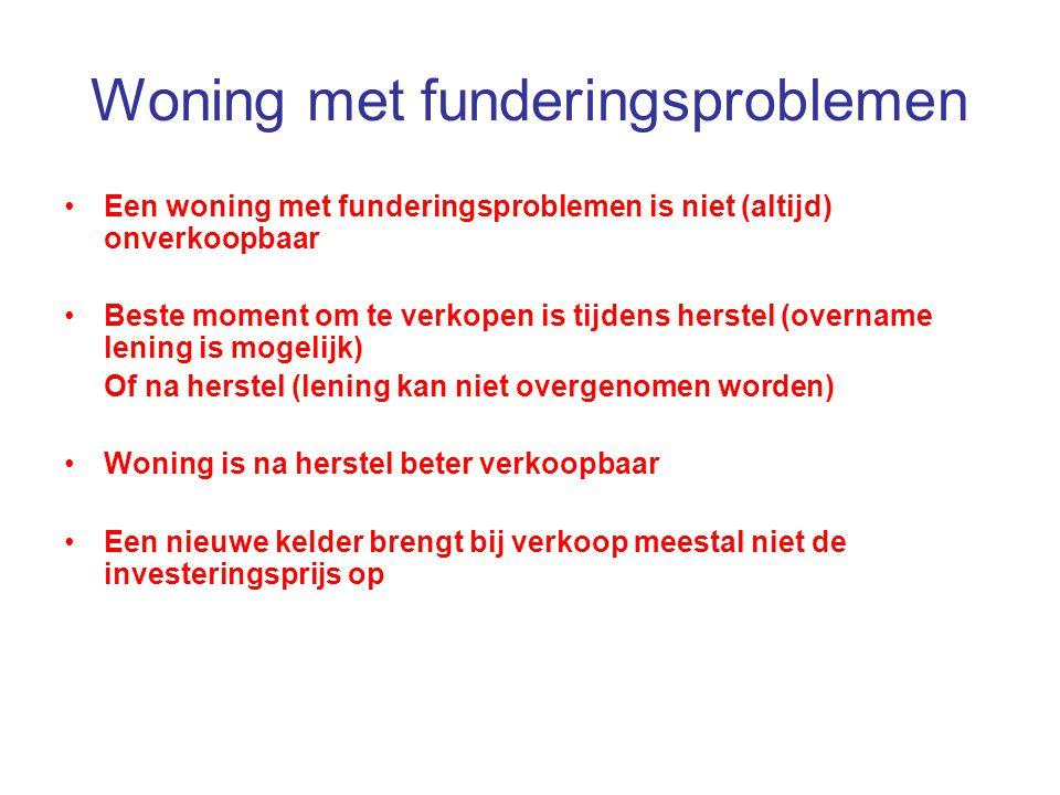 Woning met funderingsproblemen Een woning met funderingsproblemen is niet (altijd) onverkoopbaar Beste moment om te verkopen is tijdens herstel (overn