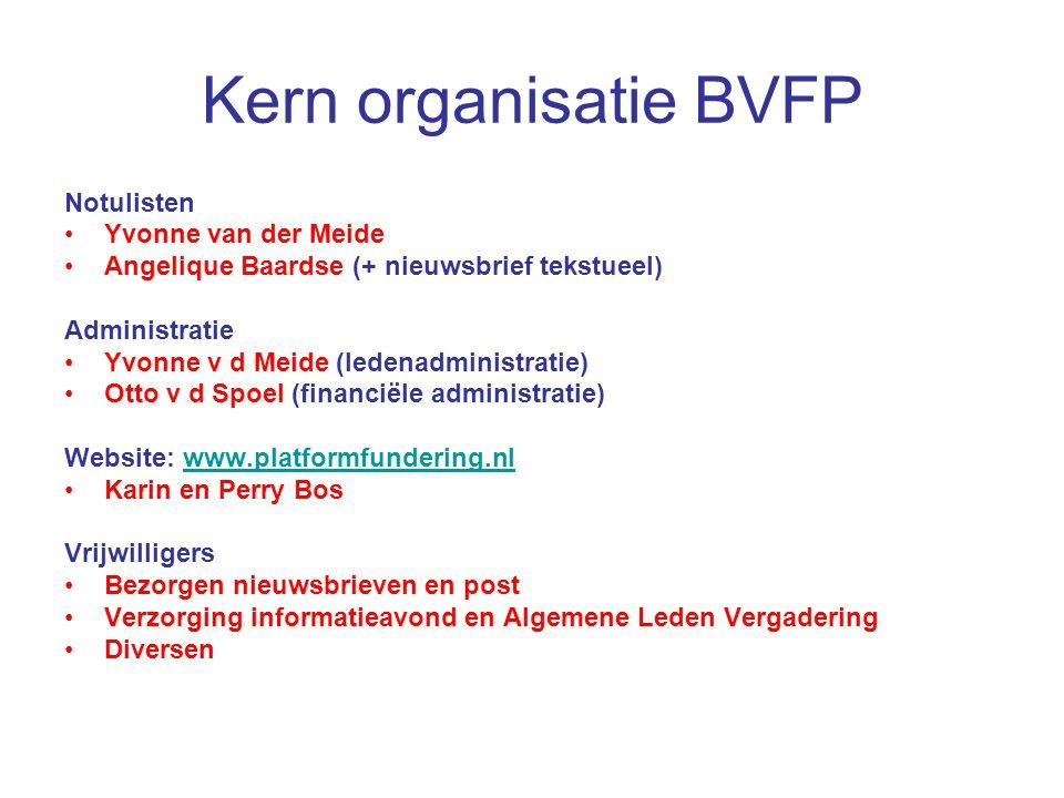Kern organisatie BVFP Notulisten Yvonne van der Meide Angelique Baardse (+ nieuwsbrief tekstueel) Administratie Yvonne v d Meide (ledenadministratie)