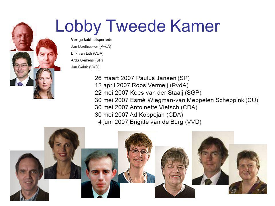 Lobby Tweede Kamer 26 maart 2007 Paulus Jansen (SP) 12 april 2007 Roos Vermeij (PvdA) 22 mei 2007 Kees van der Staaij (SGP) 30 mei 2007 Esmé Wiegman-v