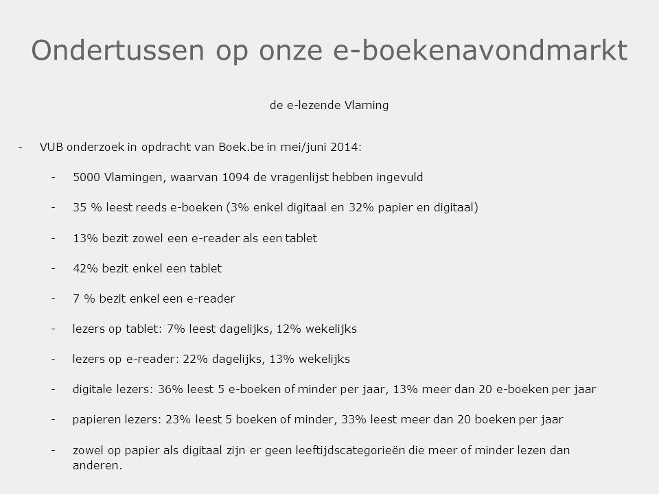 Ondertussen op onze e-boekenavondmarkt de e-lezende Vlaming -VUB onderzoek in opdracht van Boek.be in mei/juni 2014: -5000 Vlamingen, waarvan 1094 de