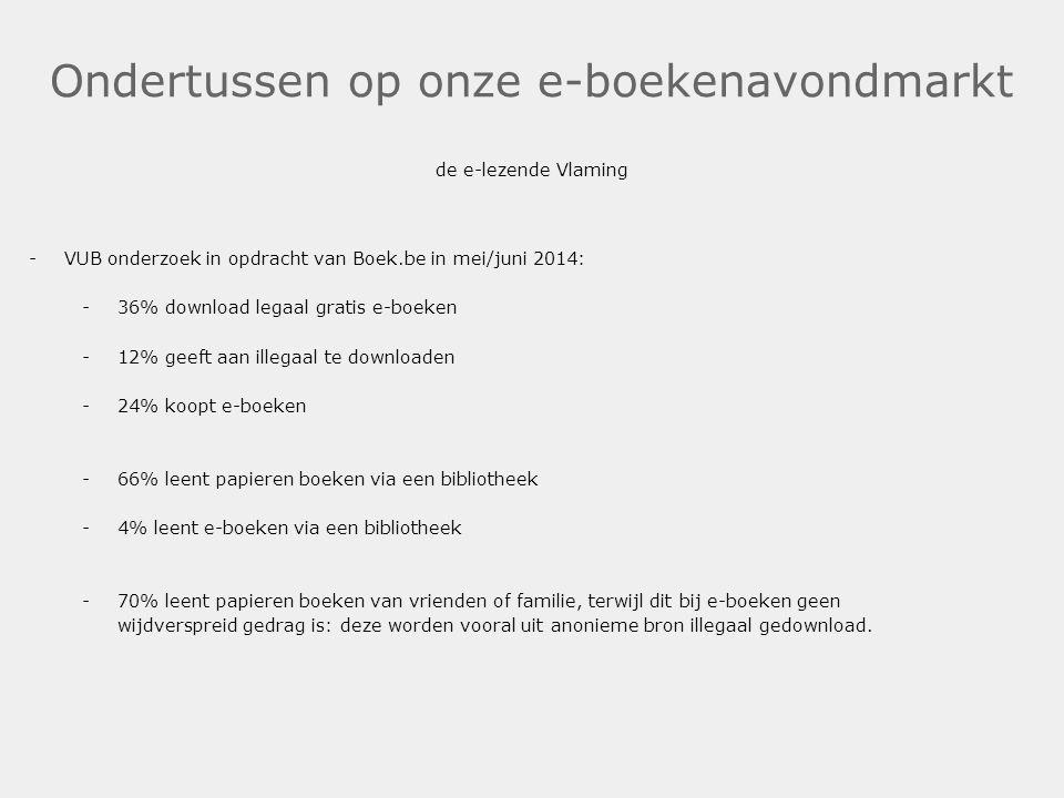 Ondertussen op onze e-boekenavondmarkt de e-lezende Vlaming -VUB onderzoek in opdracht van Boek.be in mei/juni 2014: -36% download legaal gratis e-boe