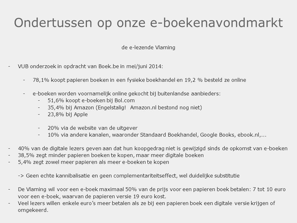 Ondertussen op onze e-boekenavondmarkt de e-lezende Vlaming -VUB onderzoek in opdracht van Boek.be in mei/juni 2014: -78,1% koopt papieren boeken in e