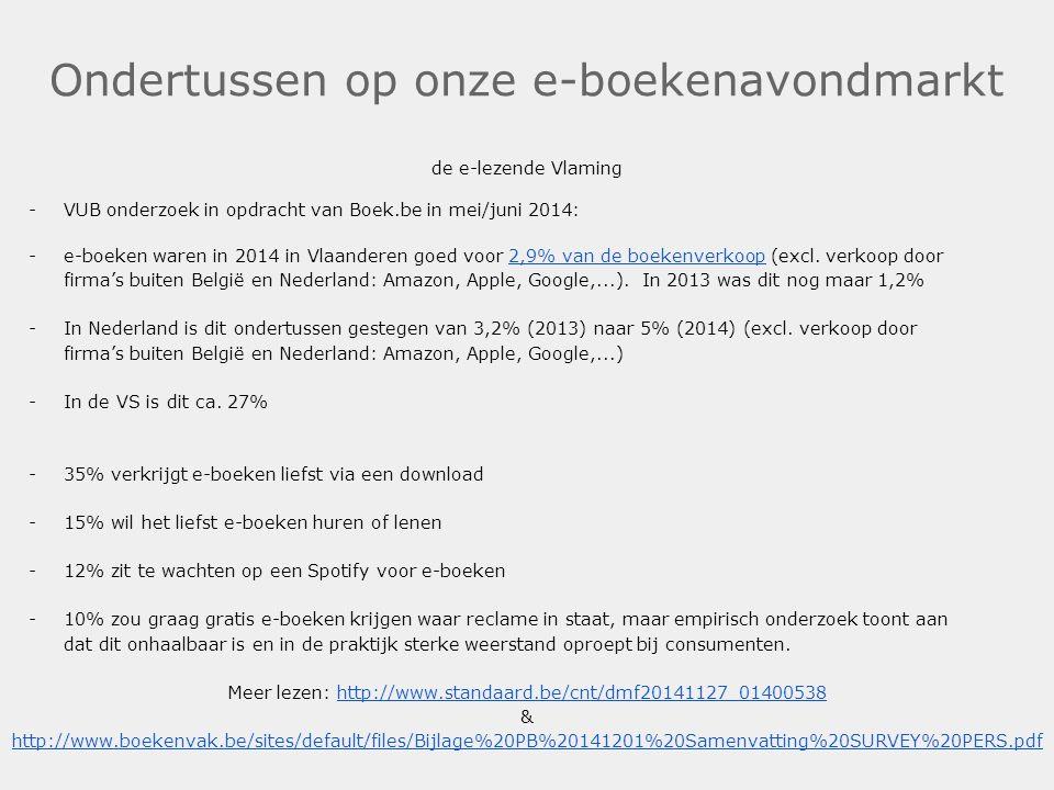 Ondertussen op onze e-boekenavondmarkt de e-lezende Vlaming -VUB onderzoek in opdracht van Boek.be in mei/juni 2014: -e-boeken waren in 2014 in Vlaand
