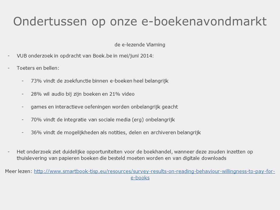 Ondertussen op onze e-boekenavondmarkt de e-lezende Vlaming -VUB onderzoek in opdracht van Boek.be in mei/juni 2014: -Toeters en bellen: -73% vindt de