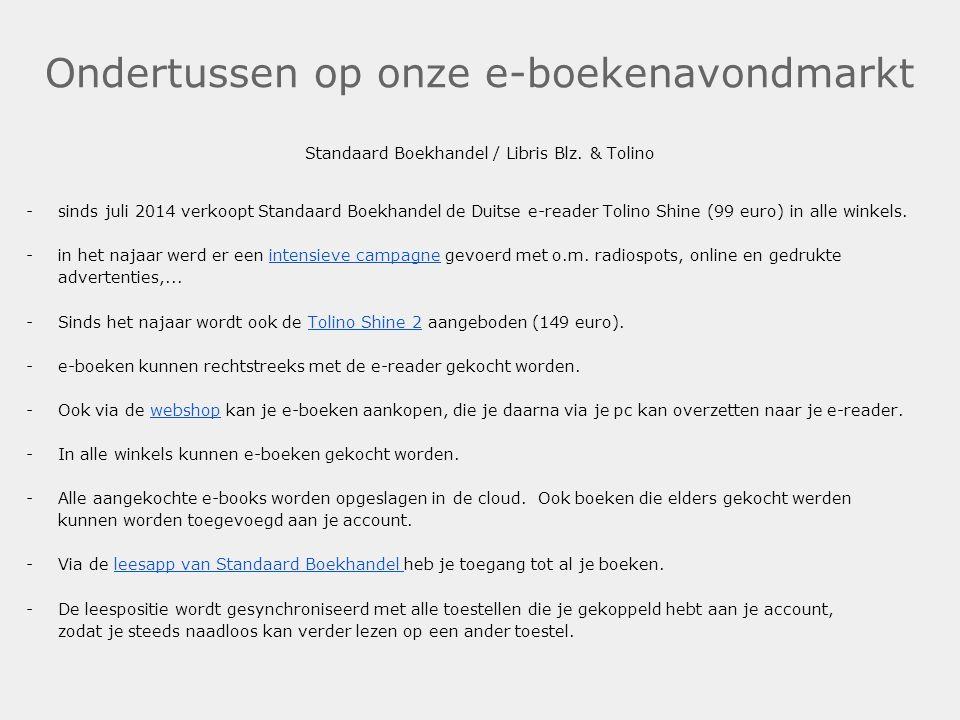 Ondertussen op onze e-boekenavondmarkt Standaard Boekhandel / Libris Blz. & Tolino -sinds juli 2014 verkoopt Standaard Boekhandel de Duitse e-reader T