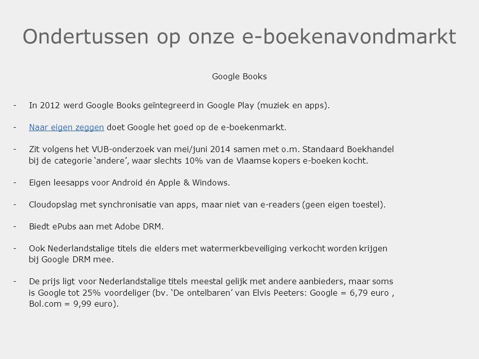 Ondertussen op onze e-boekenavondmarkt Google Books -In 2012 werd Google Books geïntegreerd in Google Play (muziek en apps). -Naar eigen zeggen doet G