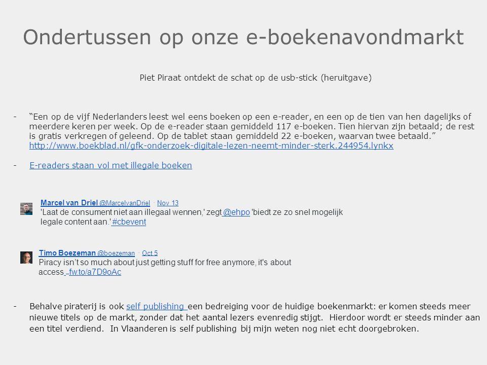 """Ondertussen op onze e-boekenavondmarkt Piet Piraat ontdekt de schat op de usb-stick (heruitgave) -""""Een op de vijf Nederlanders leest wel eens boeken o"""