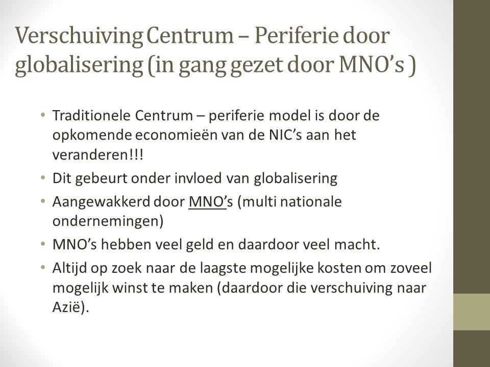 Verschuiving Centrum – Periferie door globalisering (in gang gezet door MNO's ) Traditionele Centrum – periferie model is door de opkomende economieën