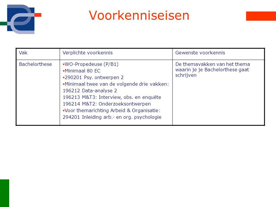 Voorkenniseisen VakVerplichte voorkennisGewenste voorkennis Bachelorthese  WO-Propedeuse (P/B1)  Minimaal 80 EC  290201 Psy. ontwerpen 2  Minimaal