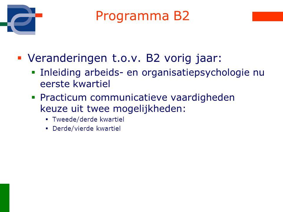 Programma B2  Veranderingen t.o.v. B2 vorig jaar:  Inleiding arbeids- en organisatiepsychologie nu eerste kwartiel  Practicum communicatieve vaardi