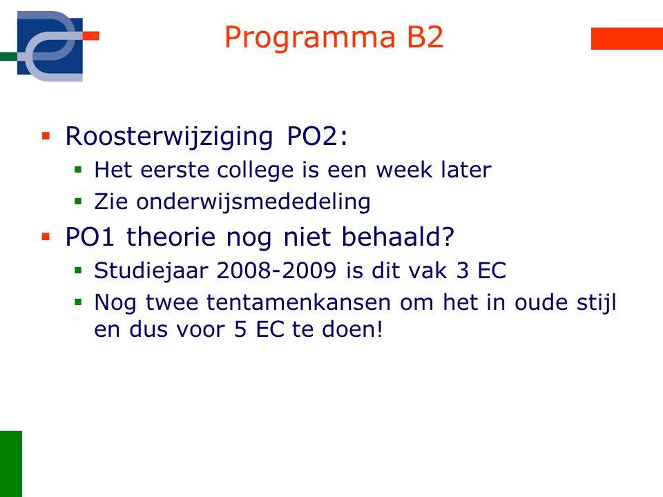 Programma B2  Roosterwijziging PO2:  Het eerste college is een week later  Zie onderwijsmededeling  PO1 theorie nog niet behaald?  Studiejaar 200