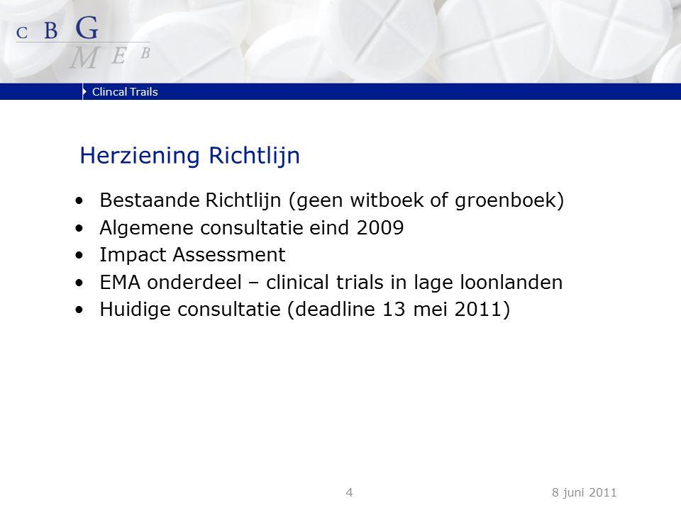 Clincal Trails 8 juni 20114 Herziening Richtlijn Bestaande Richtlijn (geen witboek of groenboek) Algemene consultatie eind 2009 Impact Assessment EMA onderdeel – clinical trials in lage loonlanden Huidige consultatie (deadline 13 mei 2011)
