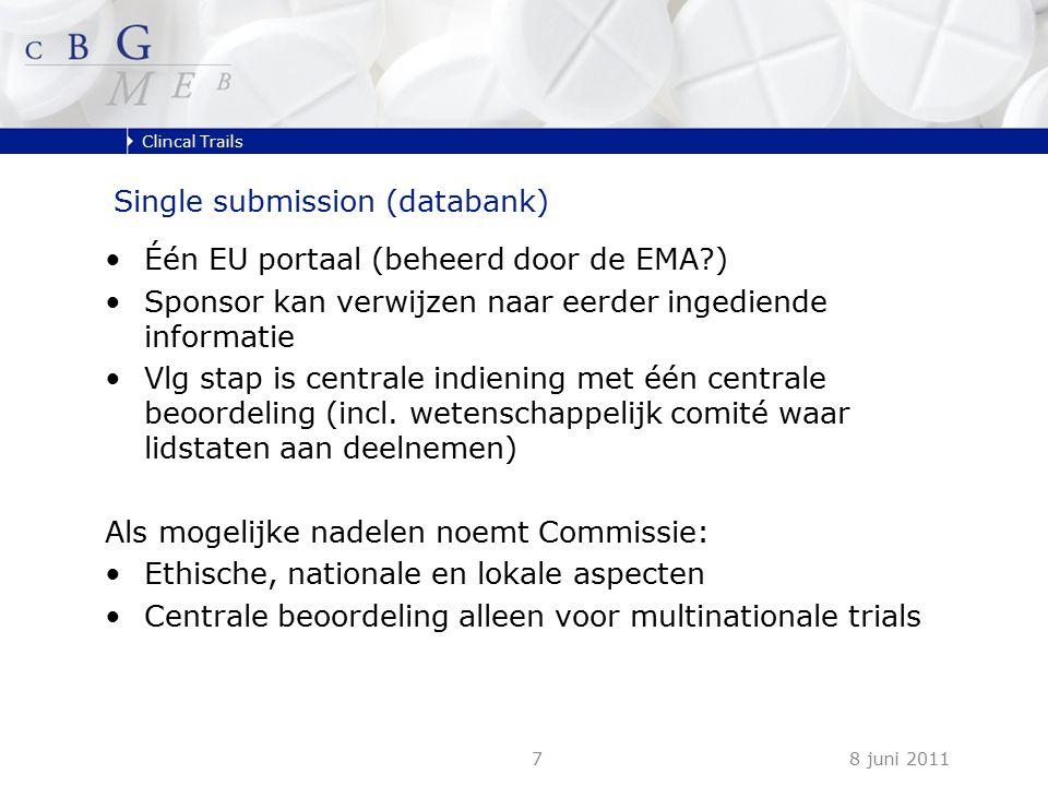 Clincal Trails 8 juni 20117 Single submission (databank) Één EU portaal (beheerd door de EMA ) Sponsor kan verwijzen naar eerder ingediende informatie Vlg stap is centrale indiening met één centrale beoordeling (incl.
