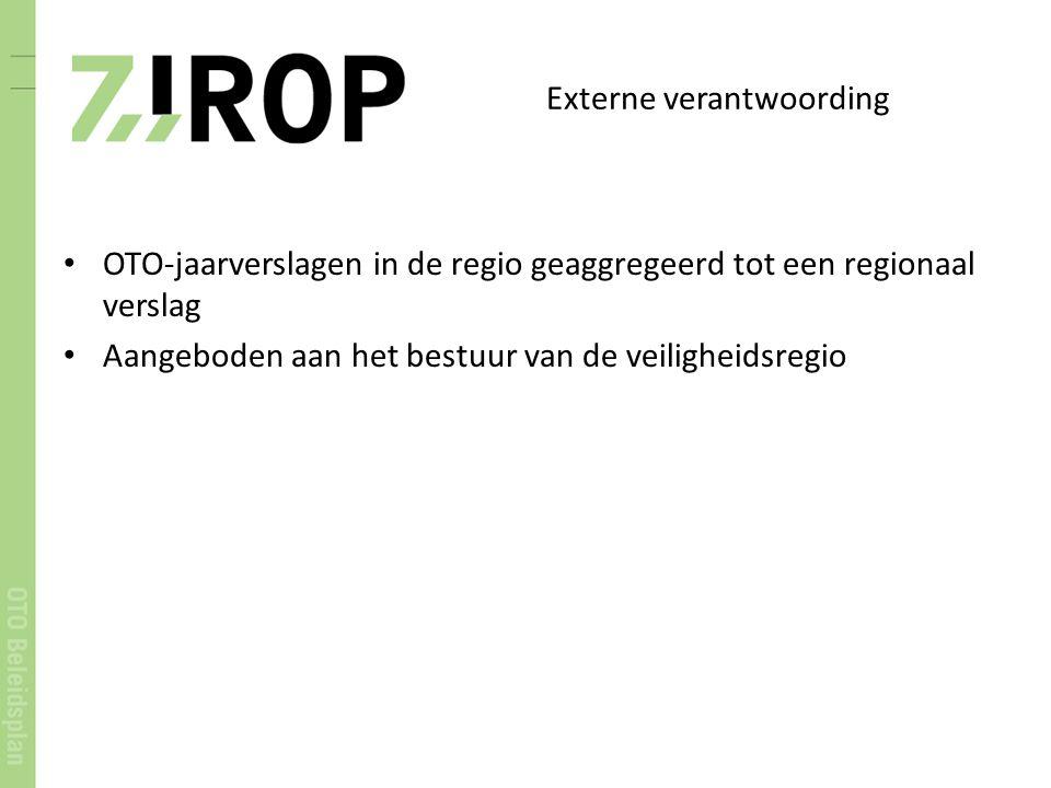 Externe verantwoording OTO-jaarverslagen in de regio geaggregeerd tot een regionaal verslag Aangeboden aan het bestuur van de veiligheidsregio