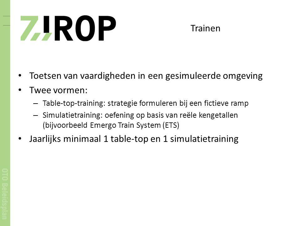 Trainen Toetsen van vaardigheden in een gesimuleerde omgeving Twee vormen: – Table-top-training: strategie formuleren bij een fictieve ramp – Simulati