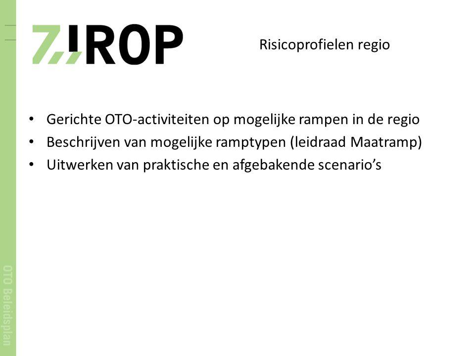 Risicoprofielen regio Gerichte OTO-activiteiten op mogelijke rampen in de regio Beschrijven van mogelijke ramptypen (leidraad Maatramp) Uitwerken van praktische en afgebakende scenario's